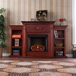 Henrietta Electric Fireplace w/ Bookcases - Mahogany