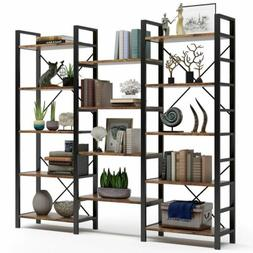 Home& Office Triple Wide 5-Shelf Bookcases Wood and Metal Vi