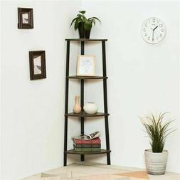Home Office 4-Tier Corner Shelf Storage Shelf Bookcase Plant