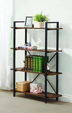 Industrial Farmhouse Open Bookcase Bookshelf 4 Display Shelv