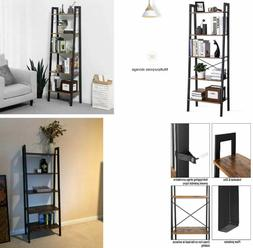 Industrial Ladder Shelf 5-Tier Bookshelf Bookcase and Storag
