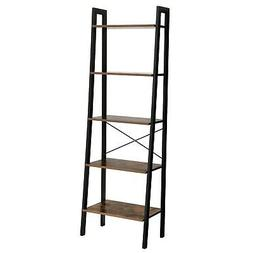 VASAGLE Industrial Ladder Shelf, 5-Tier Bookshelf, Bookcase