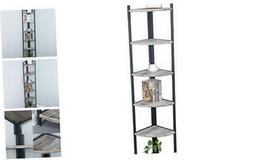 Industrial Wood Corner Shelf 6 Tier,Corner Bookcases and Boo