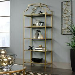 International Lux Satin Gold Bookcase Home Office Furniture