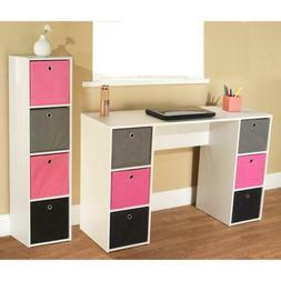 Kids Desk Bookcase Bins Set White Pink Girl Teen Furniture R
