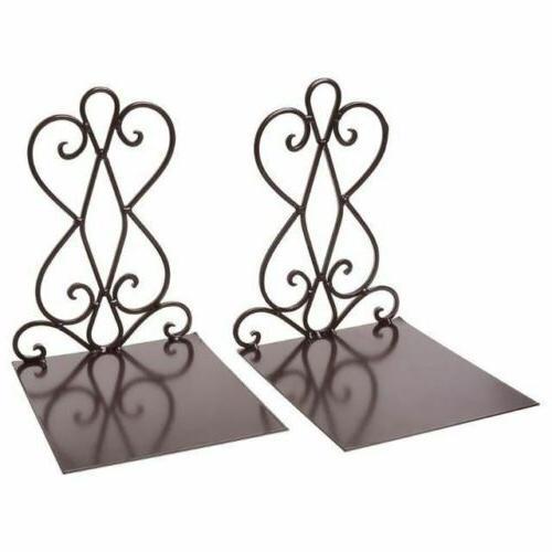 1 Metal Bookends Stand Holder Desktop Shelf For Home Off