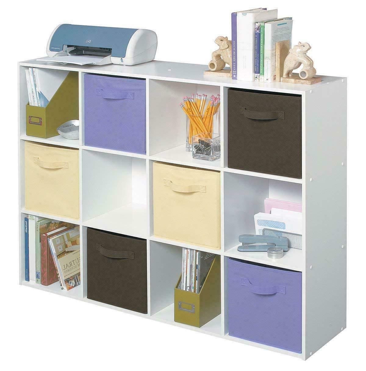 12-Cube Organizer Shelf Box Bin