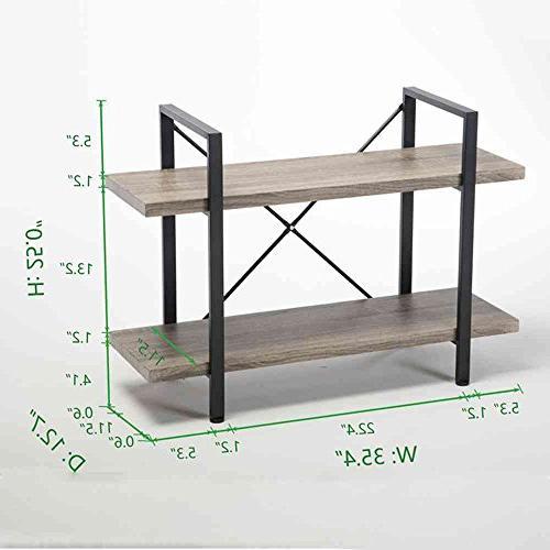 HSH 2-Shelf Bookcase, Industrial Wood Display Storage Bookshelf,