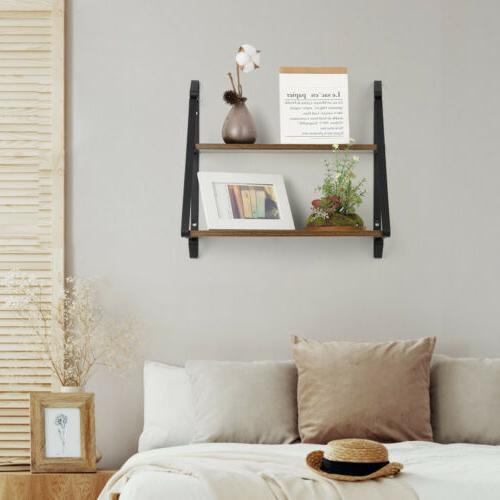 2-Tier Floating Shelves Wall-Mounted Shelf Metal
