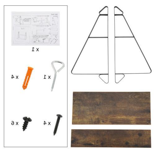 2-Tier Rustic Floating Shelves Wall-Mounted Shelf Decor Metal Brackets