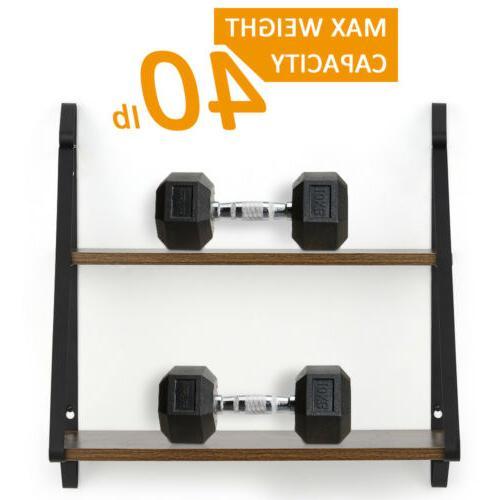 2-Tier Floating Shelves Wall-Mounted Shelf Metal Brackets