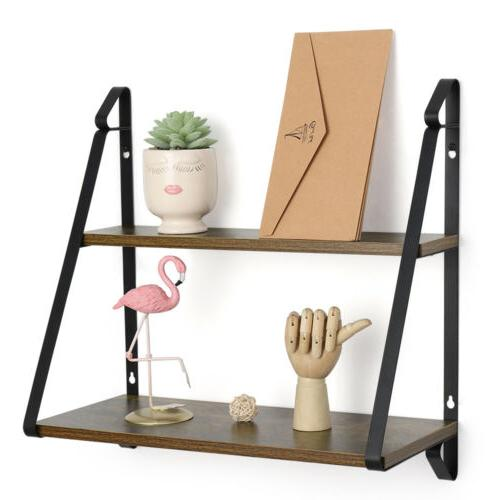 2 tier rustic floating shelves wall mounted