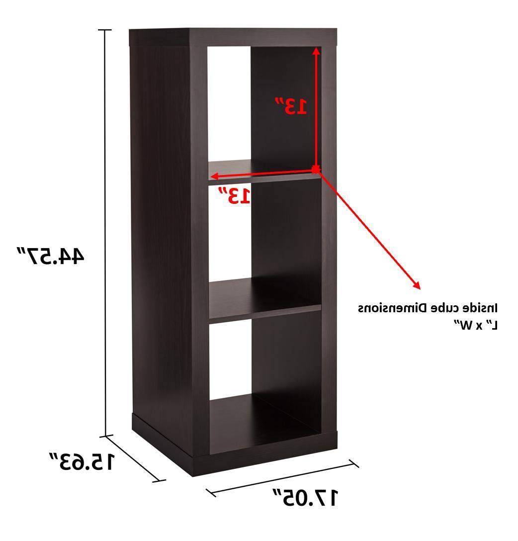 3-Cube Storage Organizer Espresso Furniture Book Durable