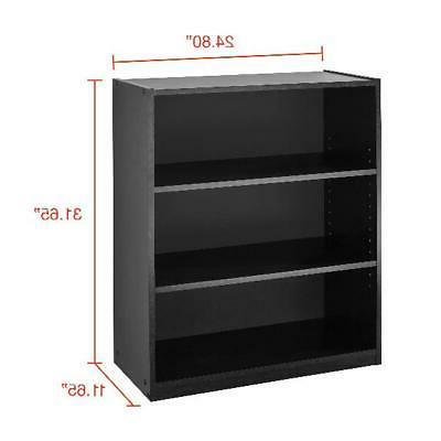 3 Shelf Bookcase Book Shelves 31 Inch Storage Rack Display Case Adjustable