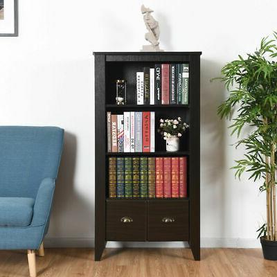 3 Bookcase Adjustable Shelves Antique Furni W/2 Drawer