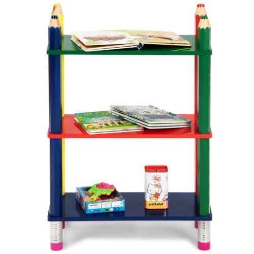 Costzon 3 Book Open Shelf Bookcase Children Stand