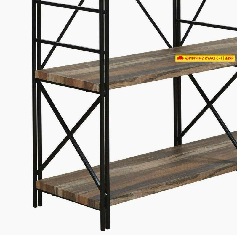 Homissue 4 Shelf Double Bookcase And Book Shelves, Rack