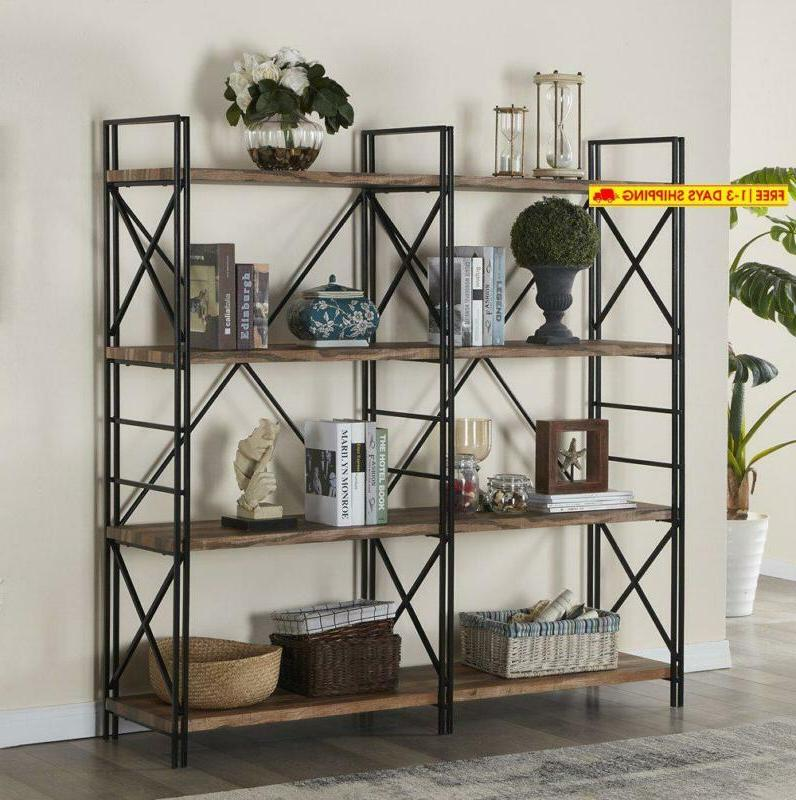 4 shelf industrial double bookcase and book
