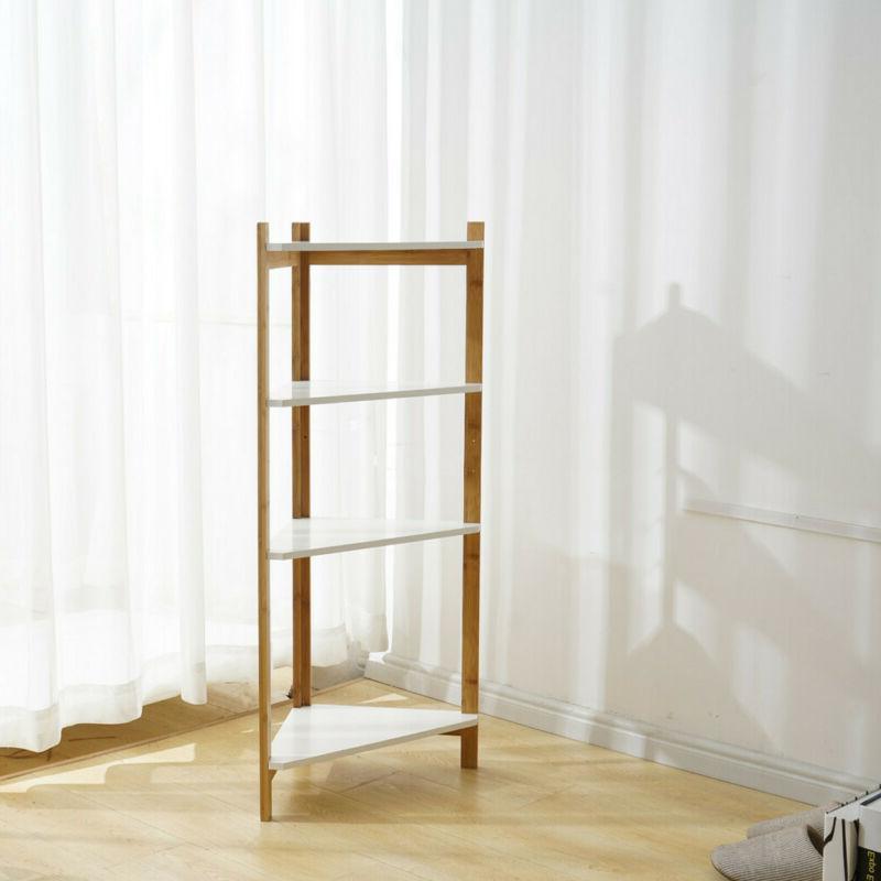 4-Tier Bookshelf Leaning Ladder Storage