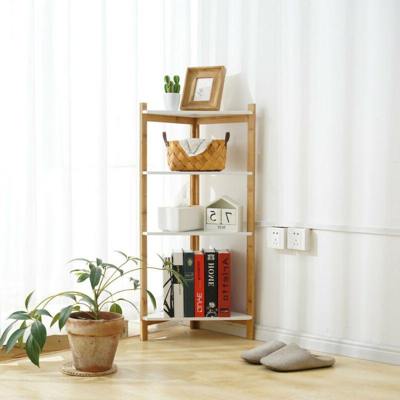 4-Tier Durable Bookcase Leaning Shelf Ladder Storage