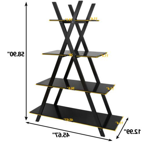 A Bookcase Bookshelf 4 Tier Storage Display Modern Black