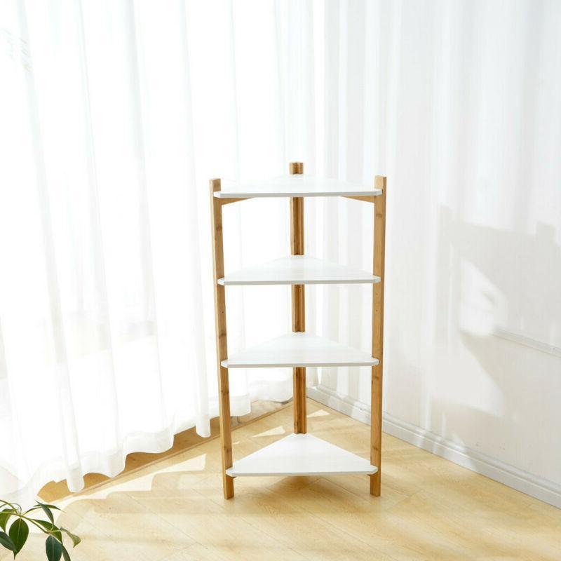4-Tier Bookcase Bookshelf Leaning Ladder Storage
