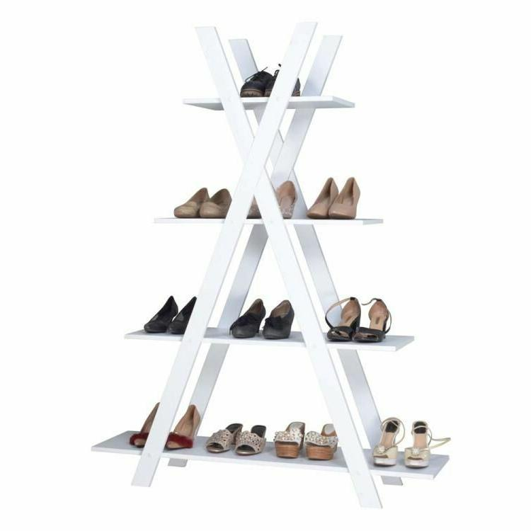 4-Tier X Shape Ladder Shelves Bookcase MDF