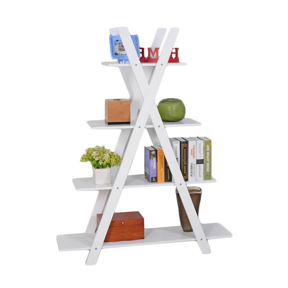 4-Tier Ladder Bookcase Wood