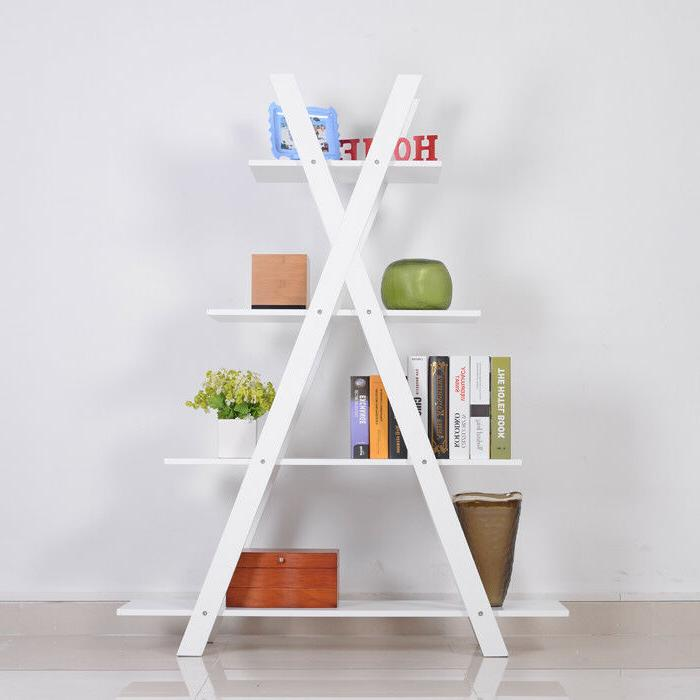 4-Tier X Ladder Shelves Bookcase