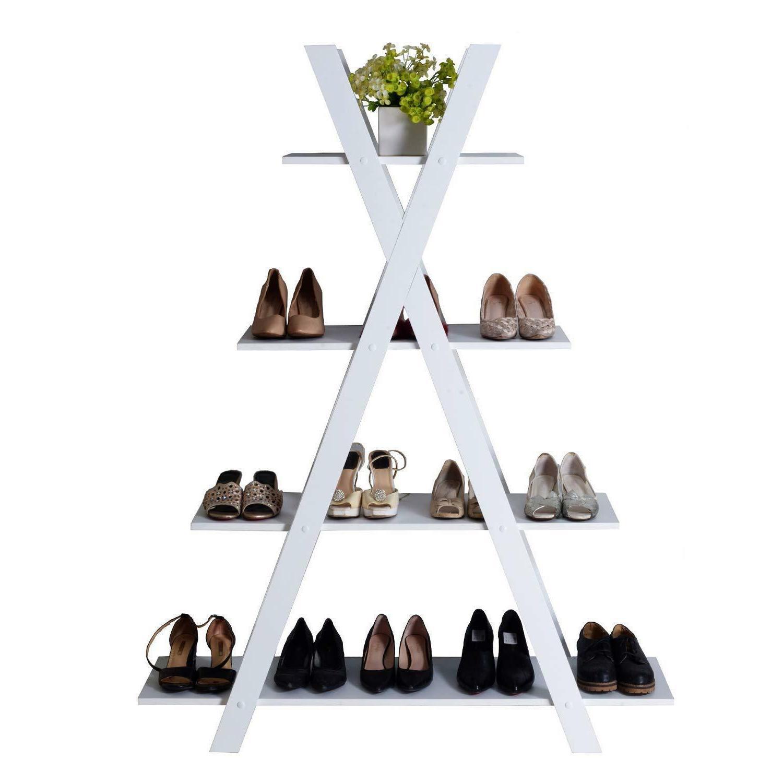 4-Tier X Ladder Shelves Home Bookcase MDF