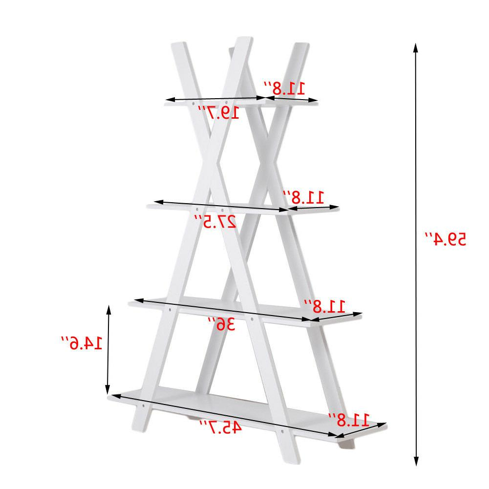 4-Tier X Ladder Shelves Home Office Bookcase MDF Display