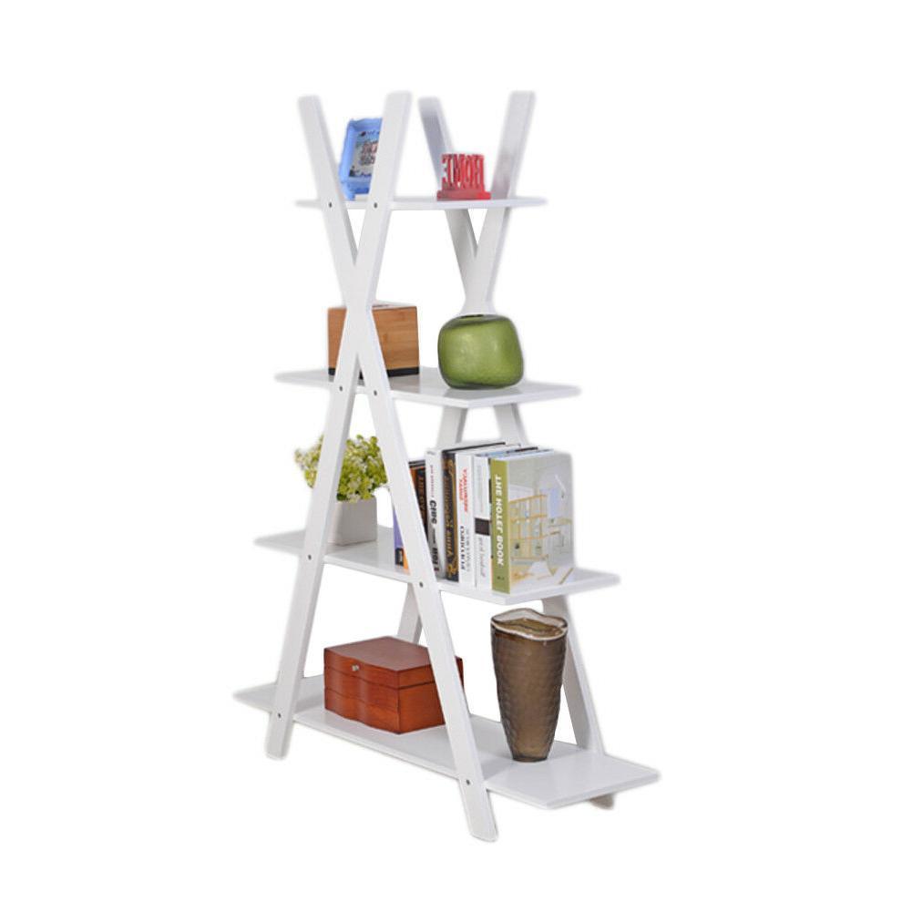 4 tier x shape bookshelf ladder shelves