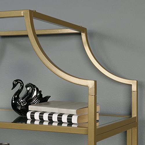 Sauder Lux Bookcase, Gold Finish