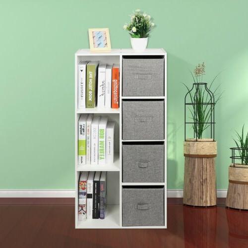5/7 Multifunction Bookcase CD Drawers Bookshelf