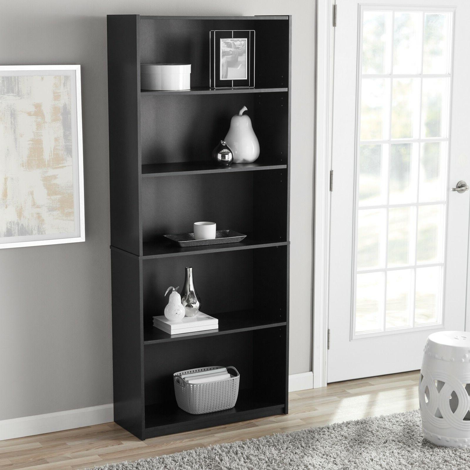 5-Shelf Adjustable Wood Bookcase Book Storage Shelving Books