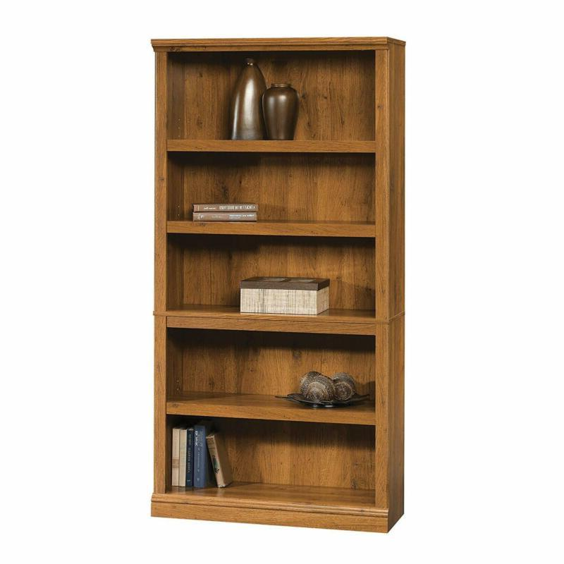 5-Shelf Abbey Finish Wood Barrister Display Adjustable Storage