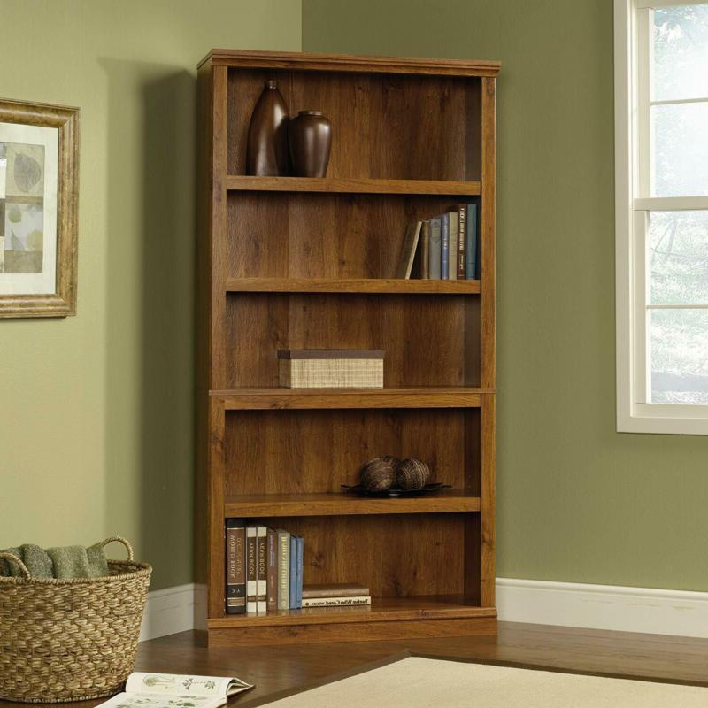 5 shelf bookcase abbey oak finish wood