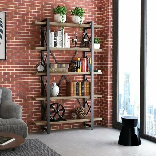 5-Shelf Industrial and Bookcase, Wood Metal Bookcases