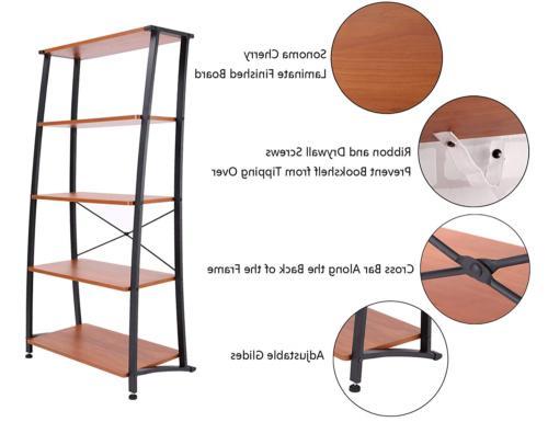 FIVEGIVEN Shelf Ladder Bookshelf and Book Shelves