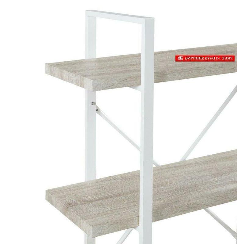 Homissue Modern Bookshelf, Light Oak Shelves And White