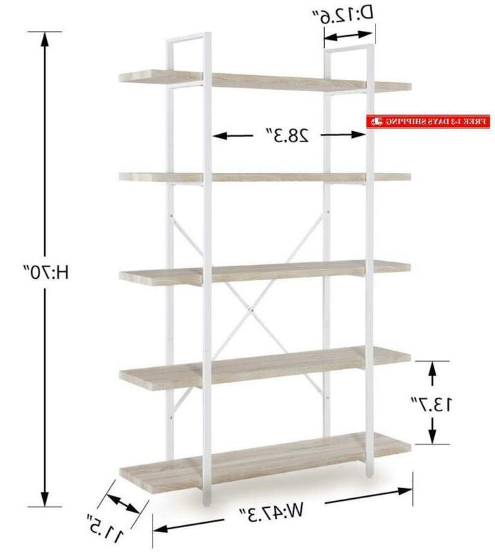 Homissue 5-Shelf Bookshelf, Light Shelves And White