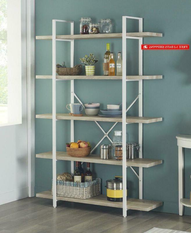 5 shelf modern style bookshelf light oak
