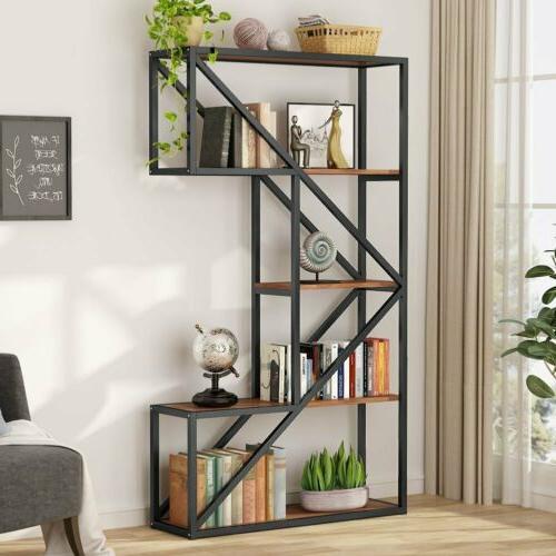 Tribesigns 5-Tier Bookshelf Industrial K Shaped Metal Tube F
