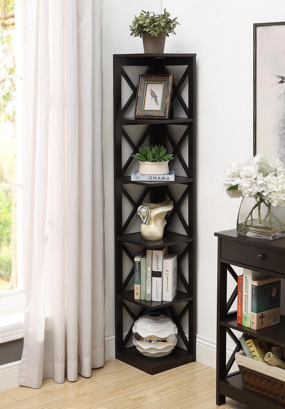 5 tier corner bookcase display shelves storage