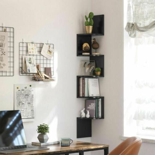 5 Corner Shelf Bookshelf Storage Zigzag Design