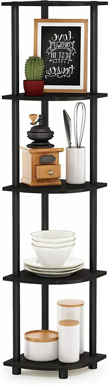 5 Corner Wood Display Storage Bookshelf