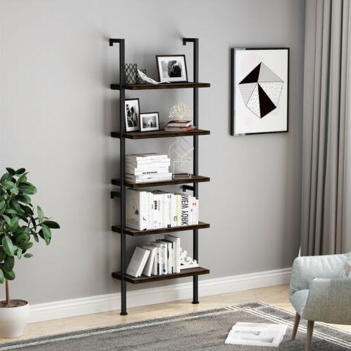 5-Tier Bookcase Wall Shelf Storage Display Furniture