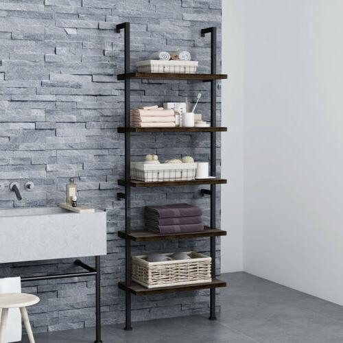 5 tier bookcase bookshelf wall shelf ladder