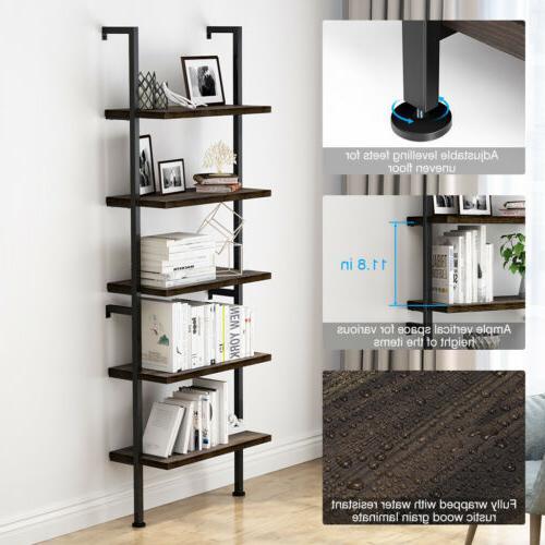 5-Tier Bookcase Bookshelf Shelf Ladder Storage Display Furniture