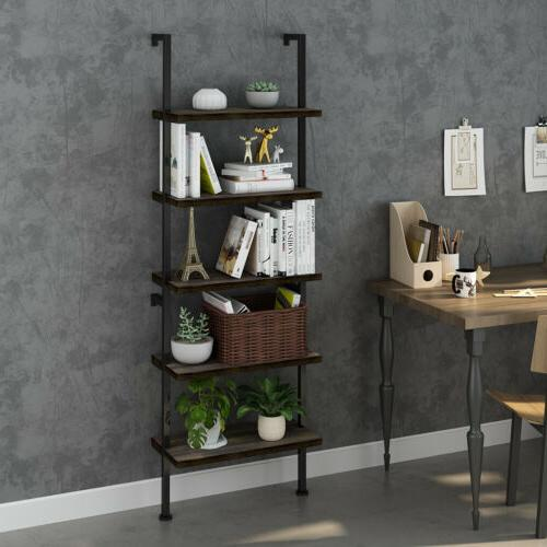 5-Tier Bookcase Bookshelf Wall Shelf Ladder Rack Display Furniture
